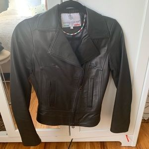 Black leather jacket made in Florence, Italy